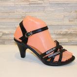 Босоножки женские на каблуке черные Натуральная кожа