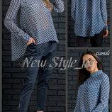 44-52. Блузка свободного кроя. асимметричная. Женская блузка. Жіноча блузка.