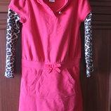 Детское платье красное,коралловое,рукава леопарды с капюшоном на 6 лет
