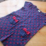 Милое детское платье на девочку синее в красный горошек
