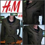 Классический пиджак с поясом от H&M, оригинал, р.S, новый с биркой.