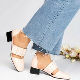 Туфли открытые, натуральная кожа, пудра