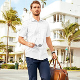 Белая рубашка шведка короткий рукав р.45 бизнес стиль royal class германия