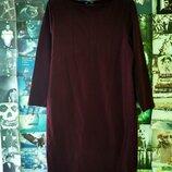 Платье h&m винного бордового цвета с длинным рукавом прямого кроя