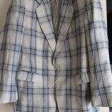 Льняной стильный летний жакет пиджак в клетку
