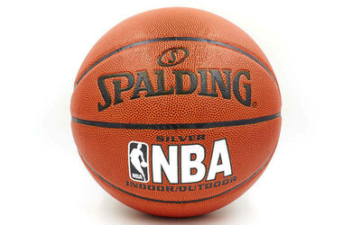 Мяч баскетбольный резиновый Spalding NBA Silver 4256 размер 7 PU бутил