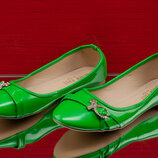Новые Туфли , Балетки зеленые р 36- 41 маломерят на размер
