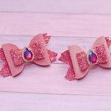 Модные розовые бантики из экокожи и бархата