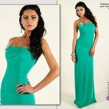 Макси платье мятного цвета в пол