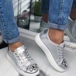 Женские стильные кеды серебро