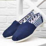Кеды женские эспадрильи Toms синие в полоску текстильные