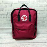 Молодежный рюкзак, сумка Fjallraven Kanken Classic, канкен класик. Бордовый с черным / 7104