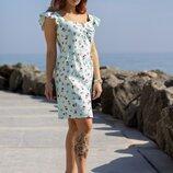 Льняное цветочное платье 42-52 р-р