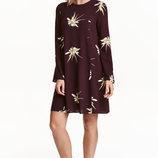 Штапельное платье сливовое в цветочный принт от h&m