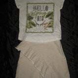 9-11 лет, молочная юбка Zara с бахромой, лён с хлопком