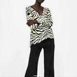 Свободная блузка с принтом зебра испанского бренда Zara Basic, оригинал, р. XL, пр-во Марокко.