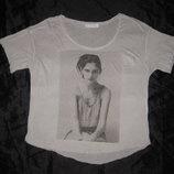 размер S-M, футболка свободная Zara с принтом, серая