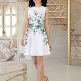 Женское нарядное платье Альба б/р с цветочным принтом ткань креп-дайвинг скл.2