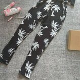 Базовый черный комбинезон натуральный /жатка в белые пальмы/размер м