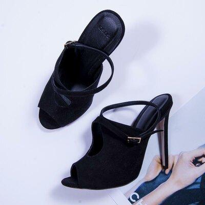 e31c14d28 Черные туфли на высоком каблуке, замшевые туфли с открытым носком, мюли на  каблуке
