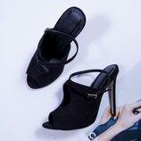Черные туфли на высоком каблуке, замшевые туфли с открытым носком, мюли на каблуке