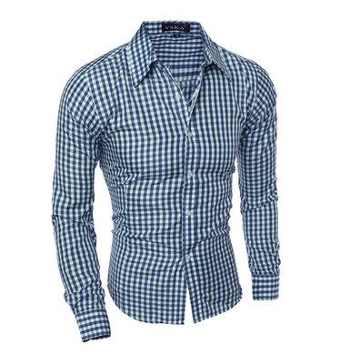 Рубашка с длинным рукавом синяя 2019 код 131