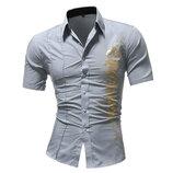 Рубашка мужская стильная короткий рукав с принтом серая код 124