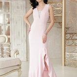 Шикарное длинное вечернее платье Этель к/р ткань креп кружево скл.2