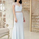Шикарное вечернее длинное платье Алана к/р ткань креп крежево три нежных цвета скл.2