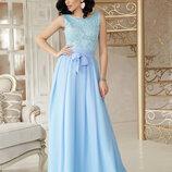 Шикарное вечернее нарядное длинное гипюровое платье Анисья б/р весенние цвета скл.2
