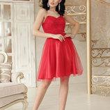 Шикарное пышное гипюровое платье Эмма б/р с фатиновой юбкой ткань креп дайвинг скл.2