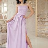 Шикарное длинное вечернее платье Эшли б/р ткань шелк армани яркие цвета с гипюром скл.2