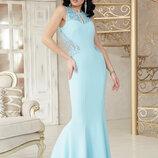 Шикарное вечернее длинное платье Азалия б/р ткань креп дайвинг гипюр краевой скл.2