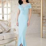 Шикарное вечернее нарядное длинное платье Наоми к/р ткань креп дайвинг с кружевом скл.2