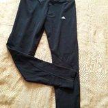 Спортивные чёрные леггинсы фирменные Adidas р.46-48