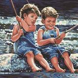 Картина По Номерам. BRUSHME ДЕТСКАЯ Рыбалка GX6806. Діти. Хлопчики. Синочки. Братики.