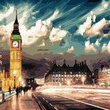 Картина По Номерам. BRUSHME СУМЕРКИ Над Лондоном GX22077. Місцевий пейзаж.