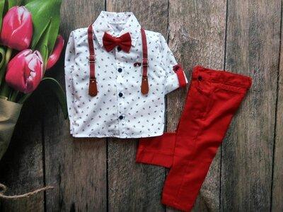 Нарядний костюм для хлопчика рубашка, підтяжки, бабочка, штани