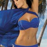 Naomi m-245 marko синий раздельный купальник чашки пушап съемные бретели