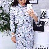 Женское платье рубашка с принтом ткань мягкий софт скл.1 арт.53697