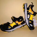 Босоножки сандалии Dinosoles 3D рисунок чёрно-жёлтые