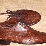 40р-26 см кожа эксклюзивніе туфли Alessandro Made in Italy идеальное состояние