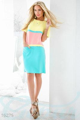 Платье трехцветное Лето S-L .