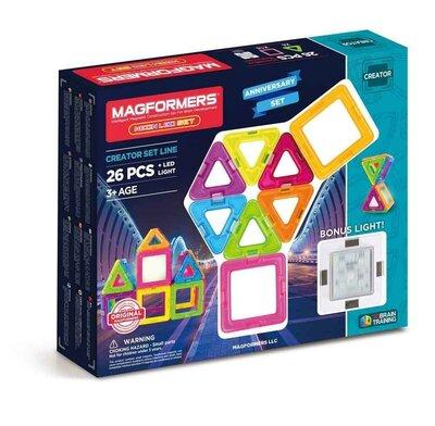 Magformers Магнитный конструктор 26 деталей LED со светящ. эл 63304 Neon Rainbow Bonus Light Buildin