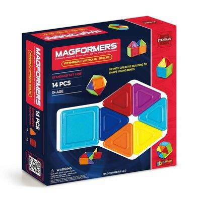 Magformers Магнитный конструктор 14 деталей радужный со сплошным центром 65010 Rainbow Opaque Solid