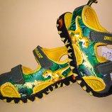 Сандалии босоножки Dinosoles динозавры зелёно-жёлтые