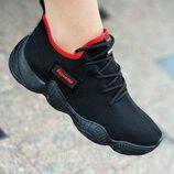 Кроссовки женские текстильные черные летние модные
