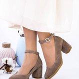 Туфли, натуральная замша, с ремешком, бежевые