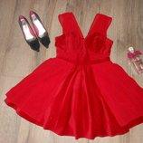 М/40 atmosphere лимитированный выпуск нарядное велюровое красное платье на фатиновой юбке, солнце