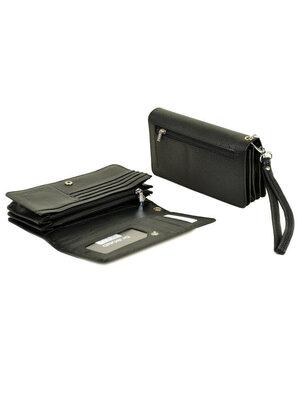 Кожаный черный мужской кошелек, портмоне, клатч, мини-барсетка Dr.Bond натуральная кожа